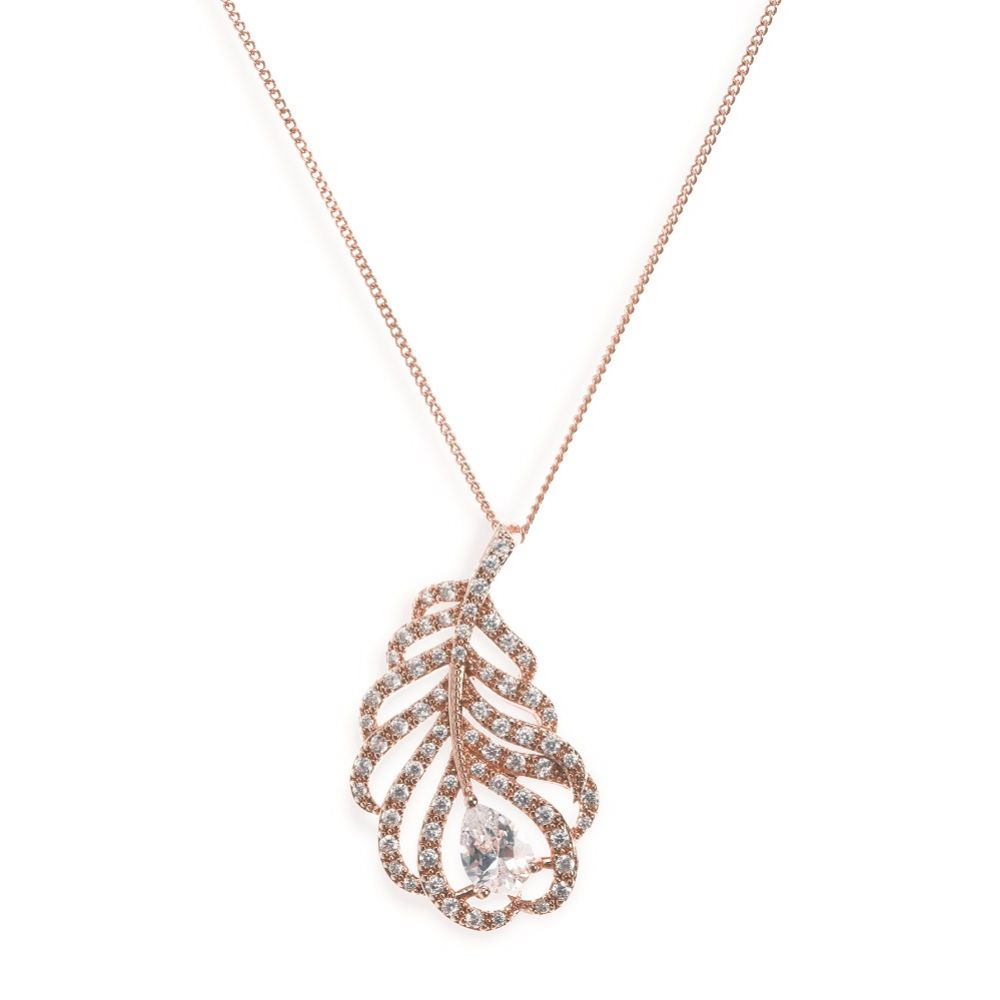 Ivory and Co Long Island Rose Gold Crystal Feather Pendant Necklace