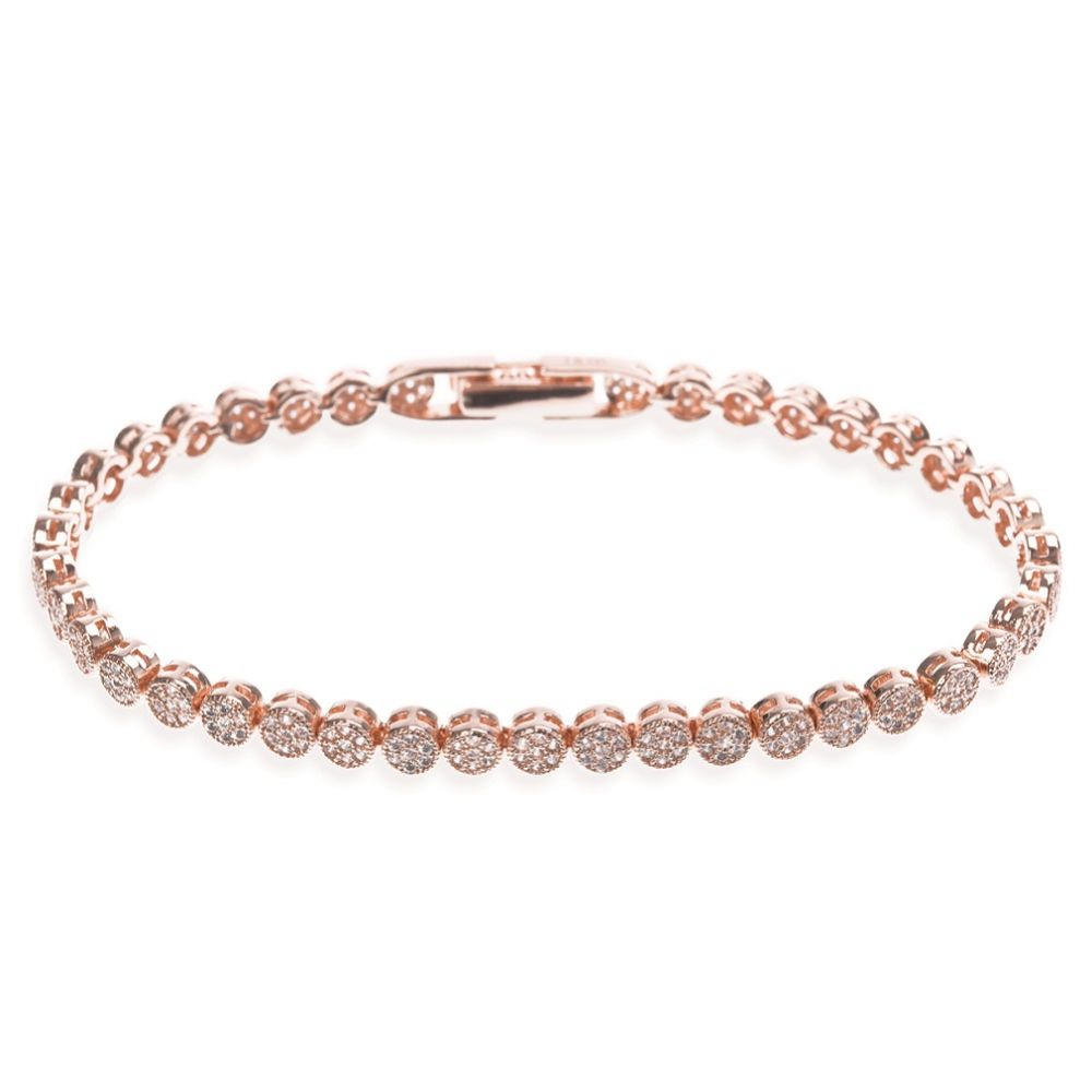 Ivory and Co Modena Rose Gold Crystal Embellished Wedding Bracelet