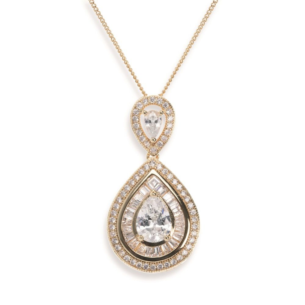 Ivory and Co Montgomery Gold Crystal Teardrop Pendant Necklace
