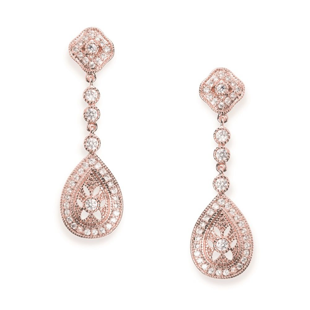 Ivory and Co Moonstruck Rose Gold Crystal Wedding Earrings