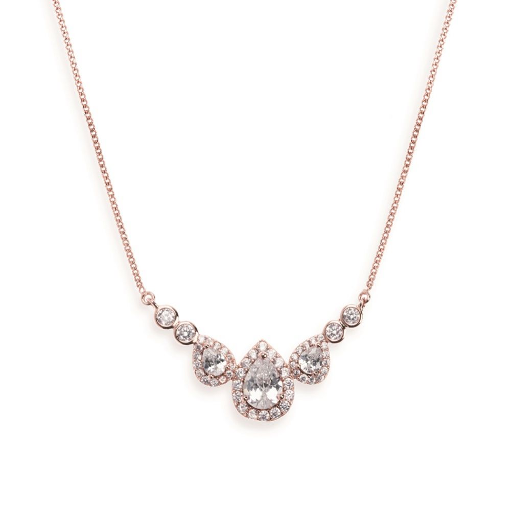 Ivory and Co Sorbonne Crystal Wedding Necklace (Rose Gold)