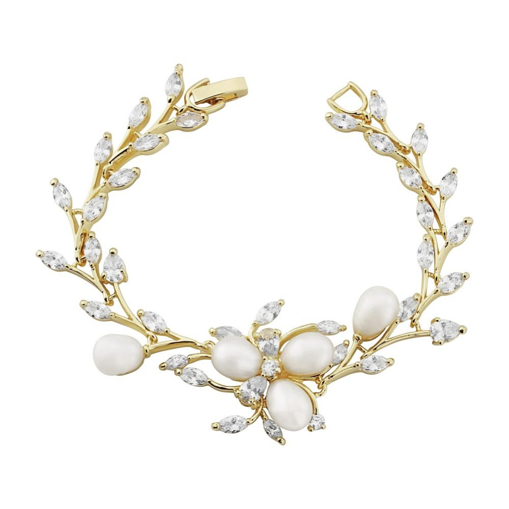 Lola Freshwater Pearl and Crystal Leaves Wedding Bracelet (Gold)