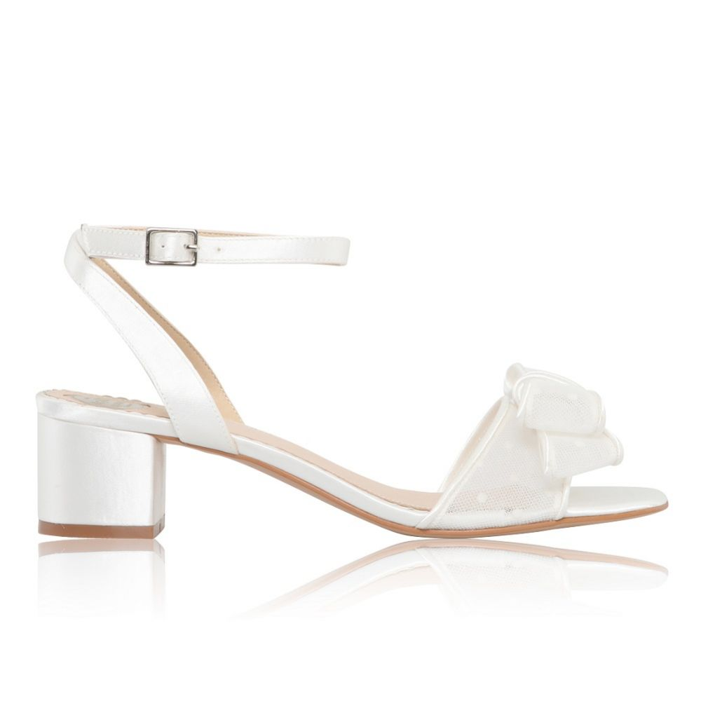 Perfect Bridal Chloe Ivory Polka Dot Mesh Low Block Heel Sandals