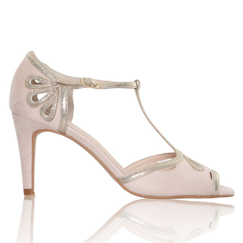 Perfect Bridal Esme Blush Suede and Gold Shimmer T-Bar Shoes