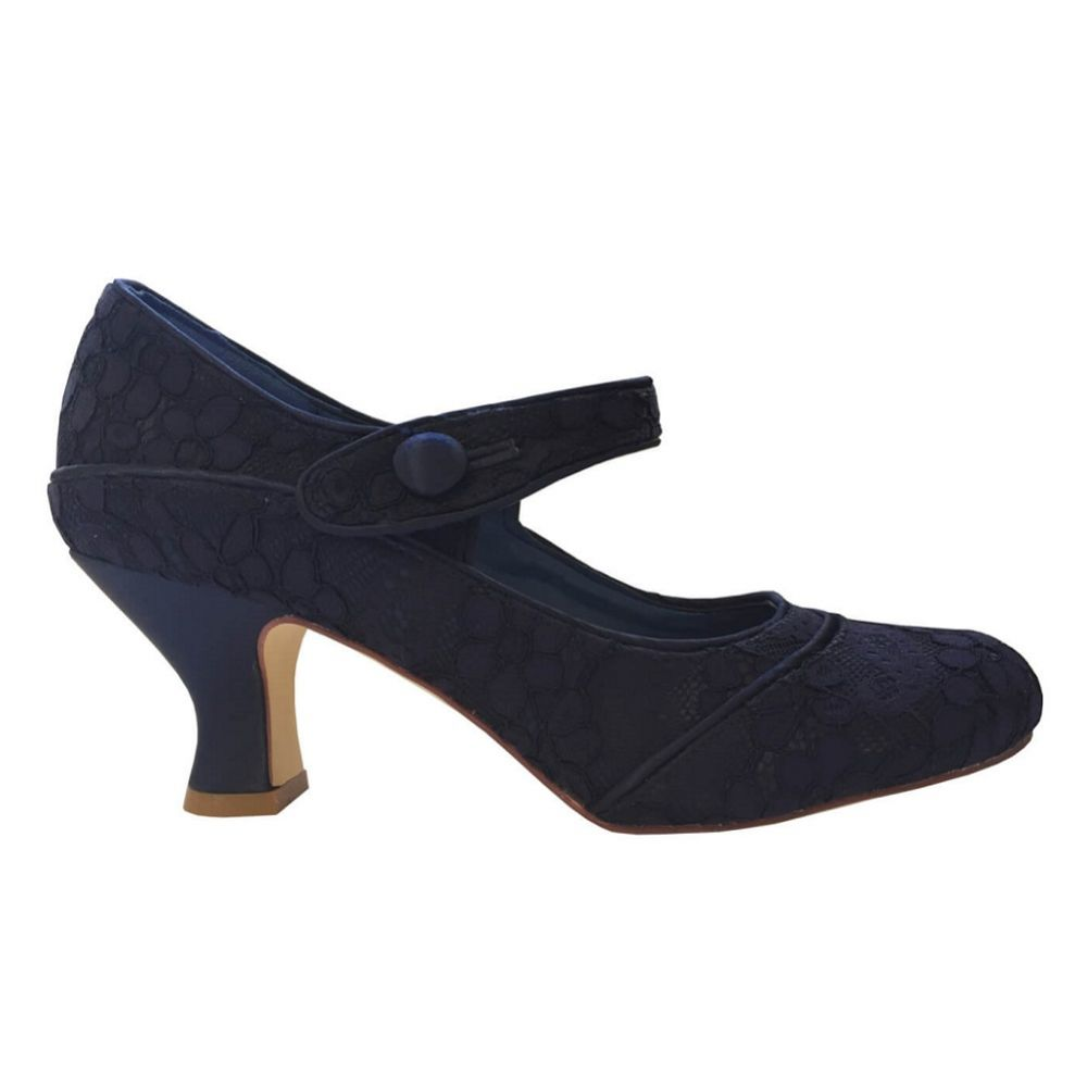 Perfect Bridal Esta Navy Lace Vintage Inspired Mary Jane Shoes