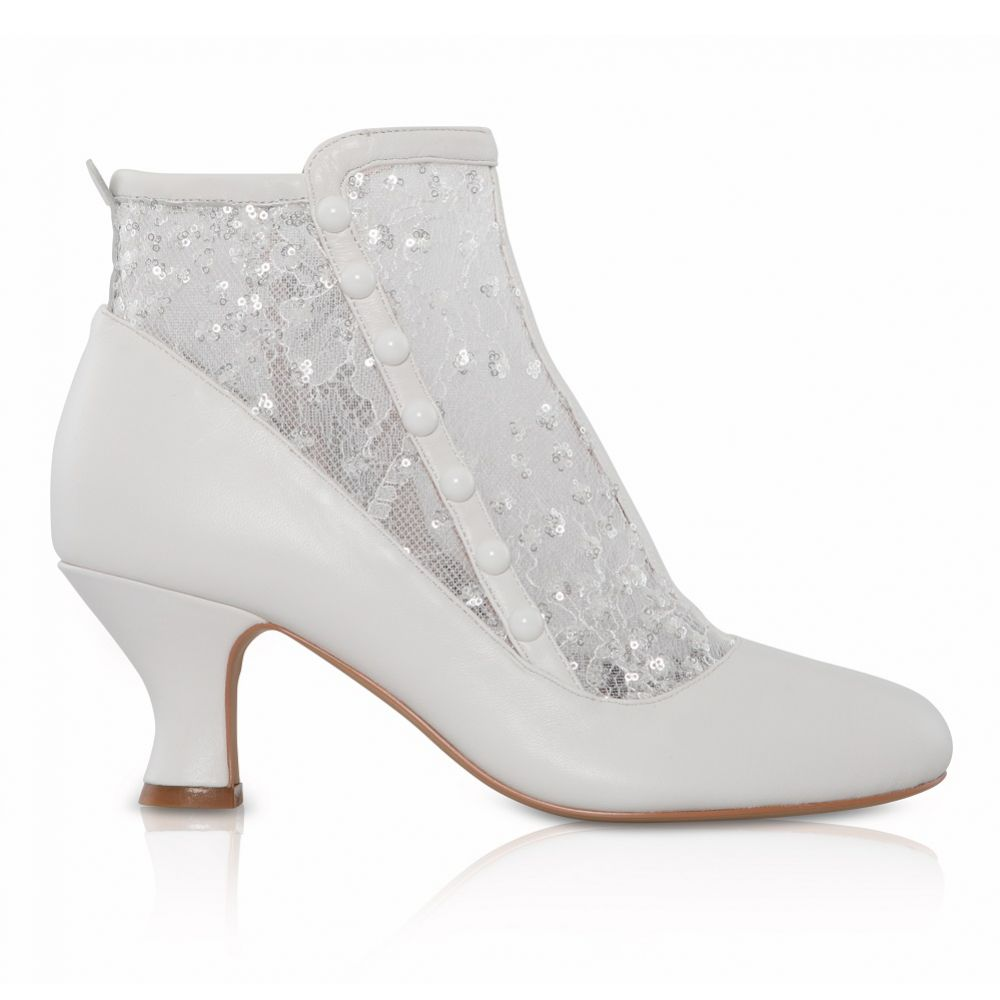 Perfect Bridal Halle Ivory Leather and Lace Wedding Ankle Boots