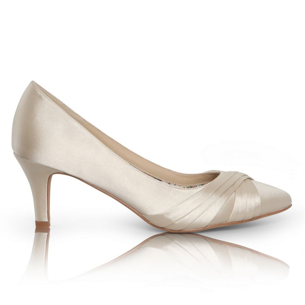 Perfect Bridal Sally Champagne Satin Mid Heel Court Shoes
