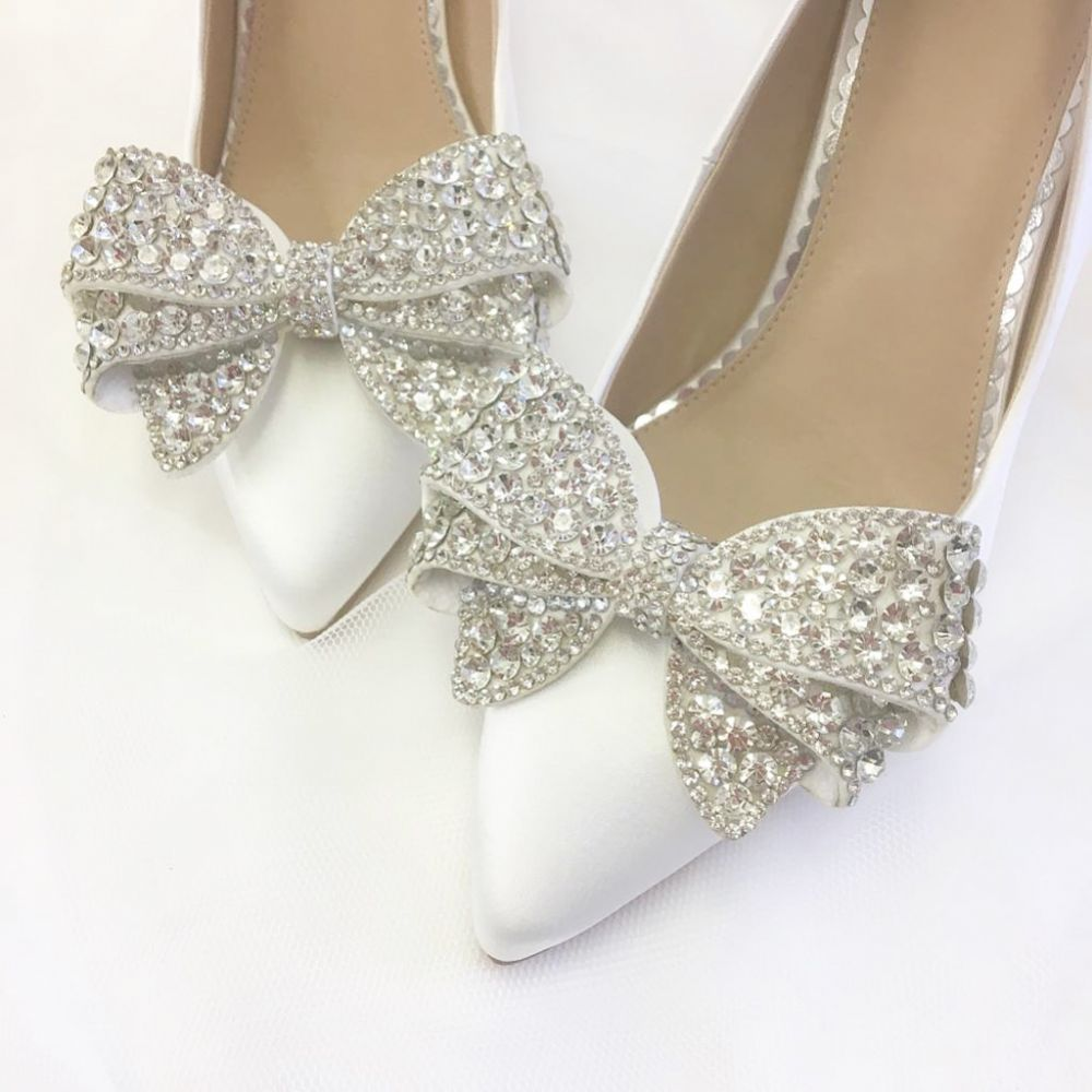 Perfect Bridal Zinnia Crystal Embellished Large Bow Shoe Clips