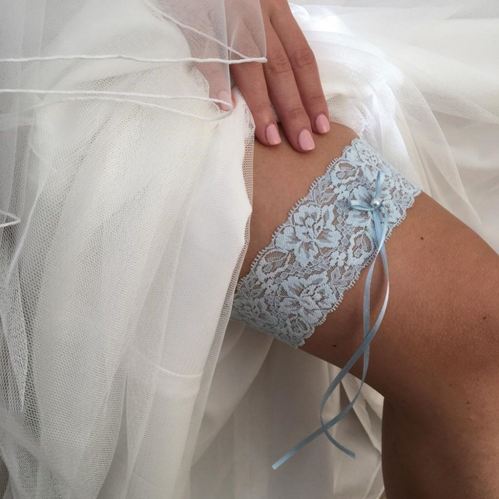 Purity Blue Delicate Lace Wedding Garter with Pearl Detail