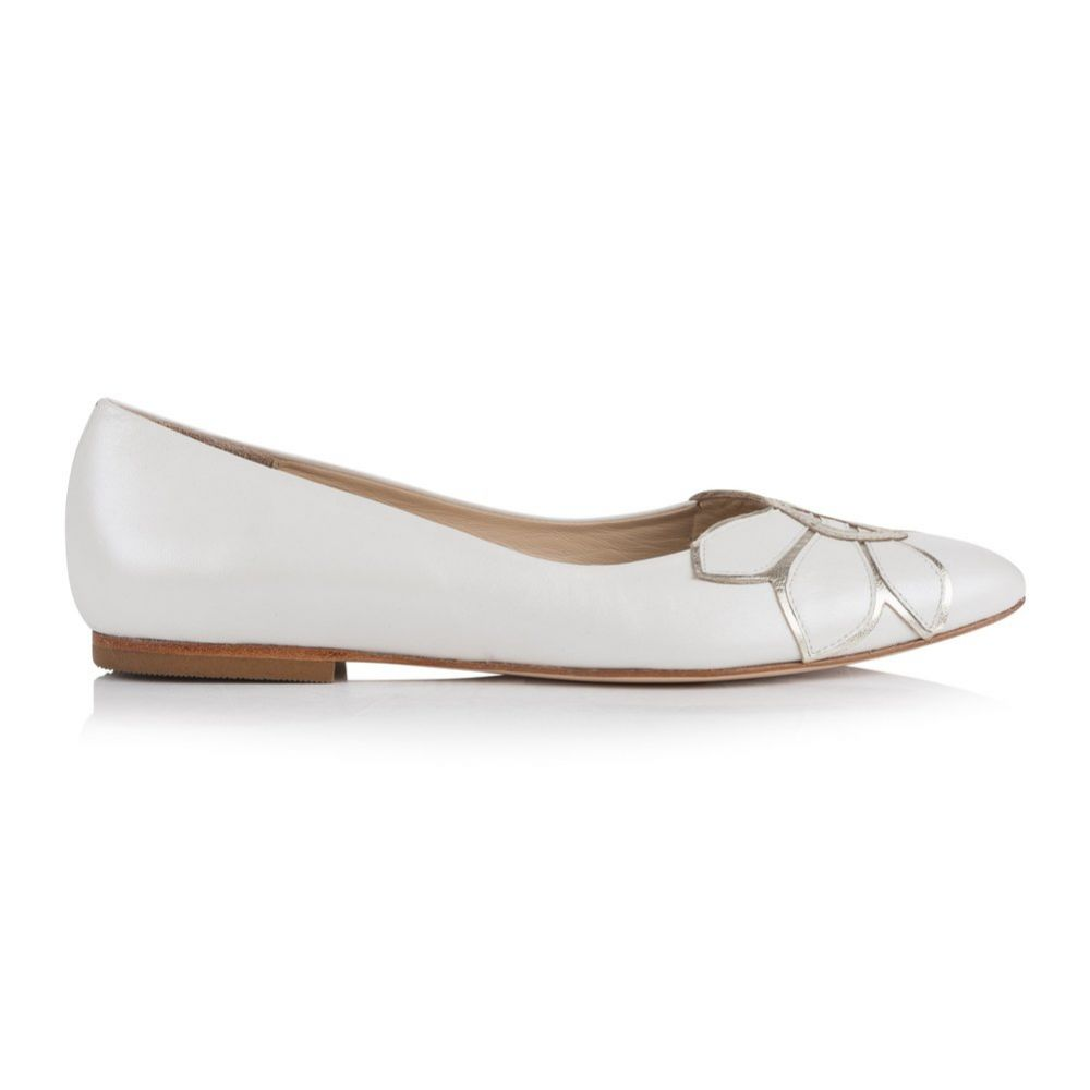 Rachel Simpson Autumn Pearlised Ivory Leather Ballet Pumps