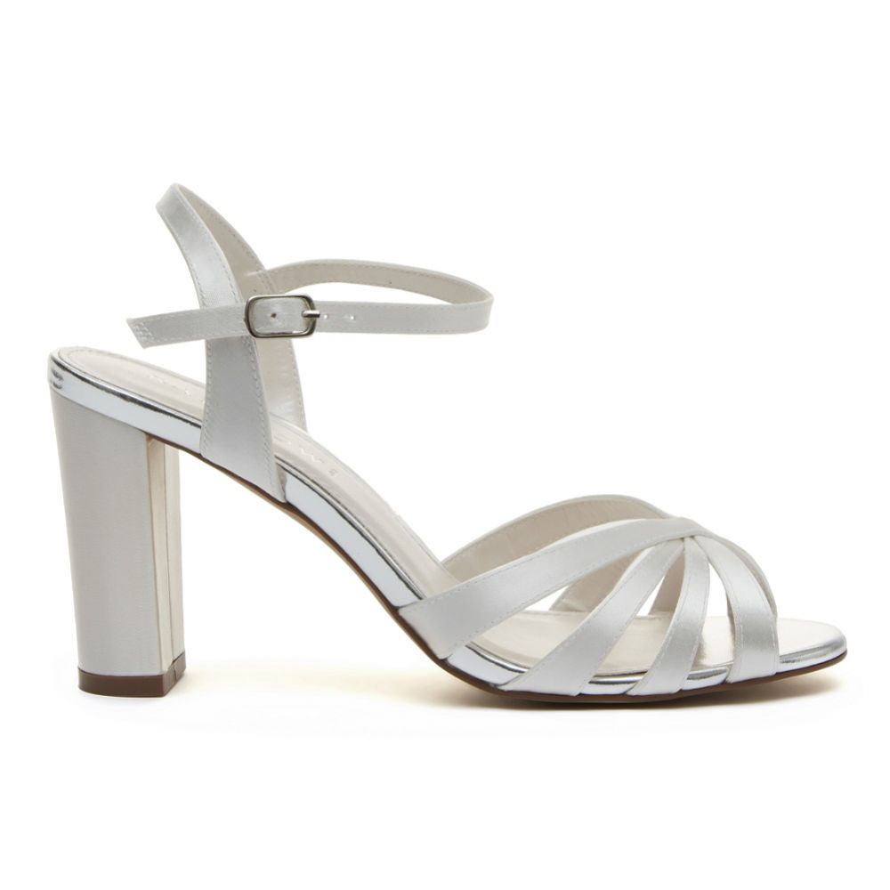 Rainbow Club Blake Dyeable Ivory Satin Block Heel Sandals