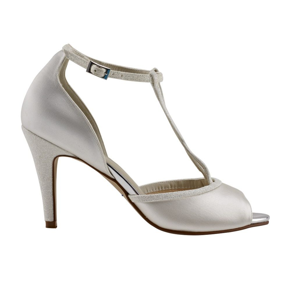 Rainbow Club Gigi Ivory Satin and Glitter T-Bar Peep Toes