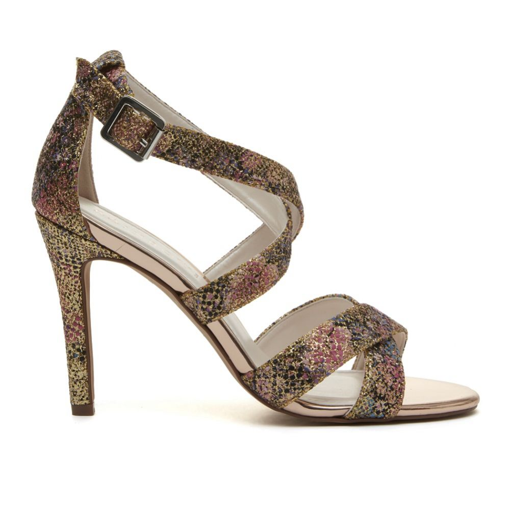 Rainbow Club Reese Gold Glitter Bomb Floral Strappy Sandals