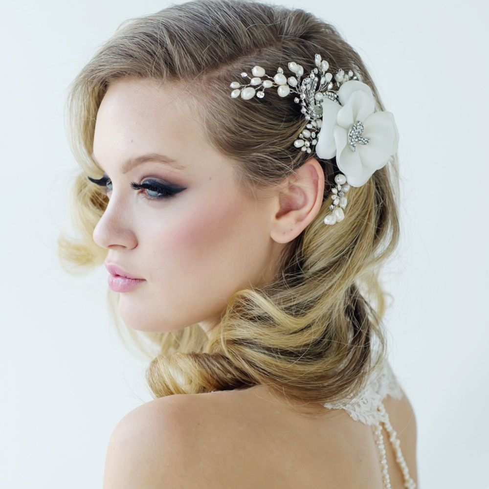 SassB Miriam Organza Flower Wedding Headpiece