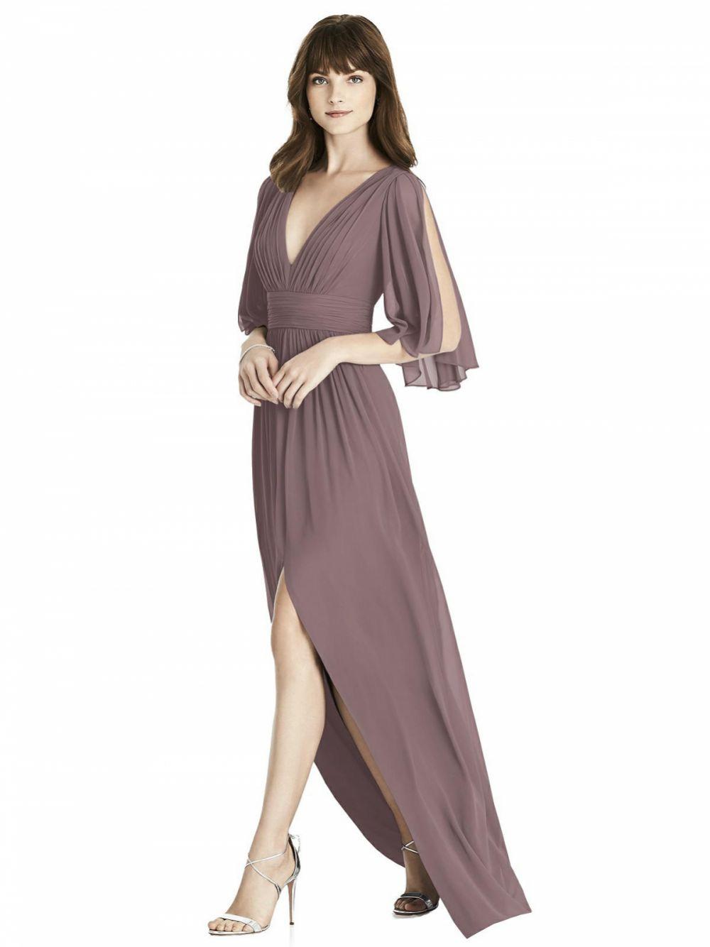 After Six Split Sleeve Backless Chiffon Maxi Bridesmaid Dress 6777