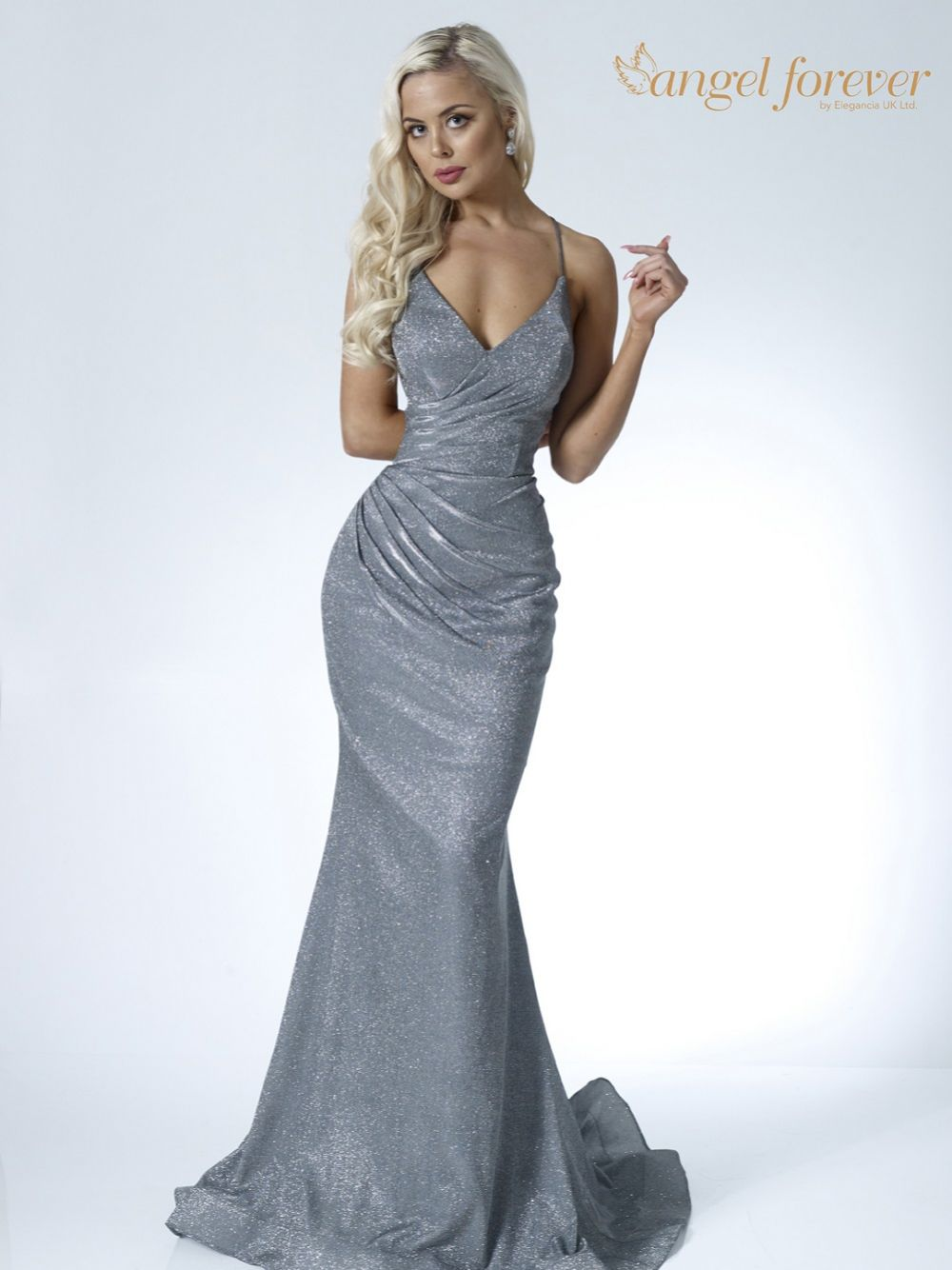 Angel Forever Shimmer Fabric V Neck Fitted Backless Prom Dress (Charcoal)