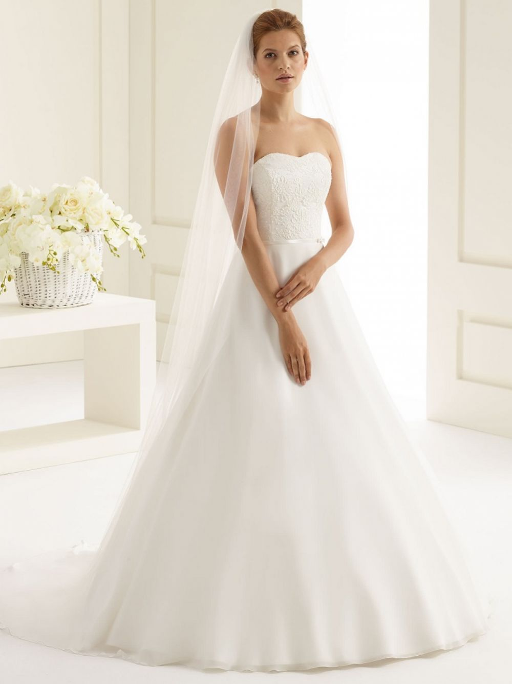 Bianco Ivory Plain Single Tier Floor Length Veil with Cut Edge S227