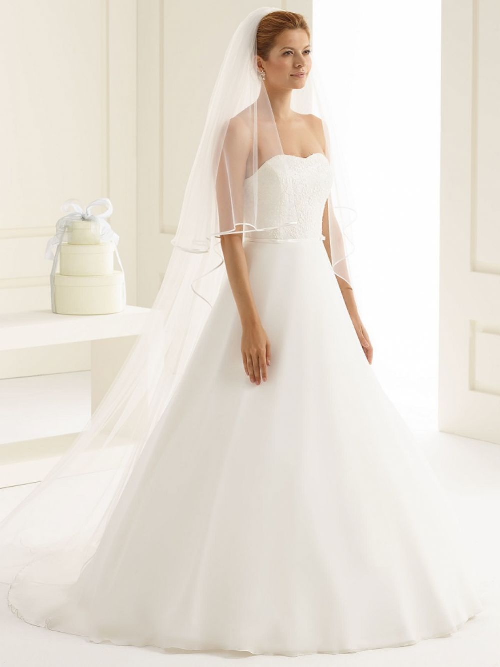 Bianco Ivory Two Tier Satin Edge Chapel Veil S208