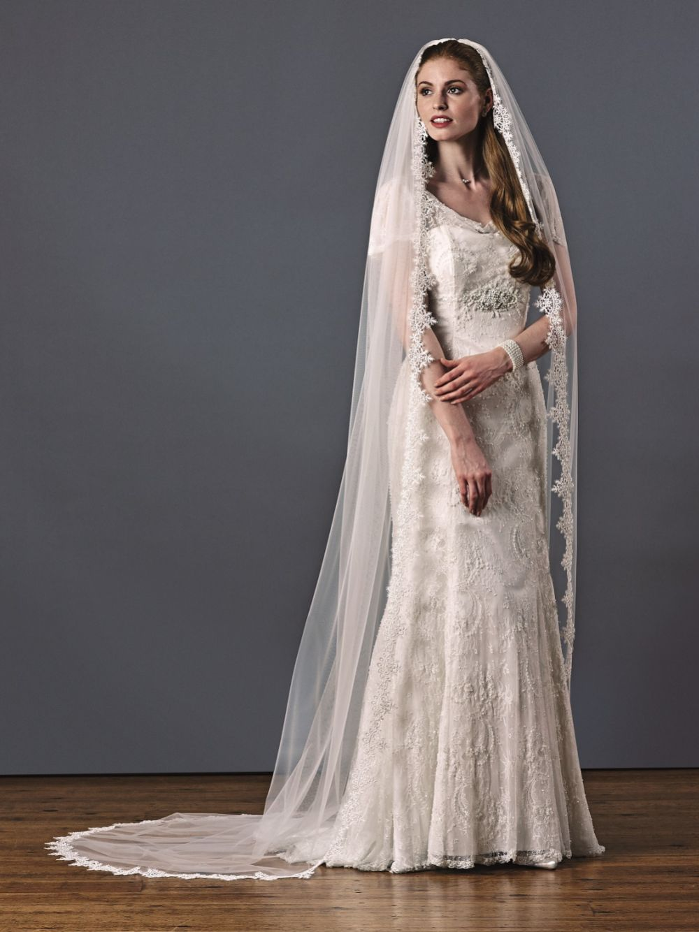 Joyce Jackson Claremont Single Tier Spiked Lace Edge Veil
