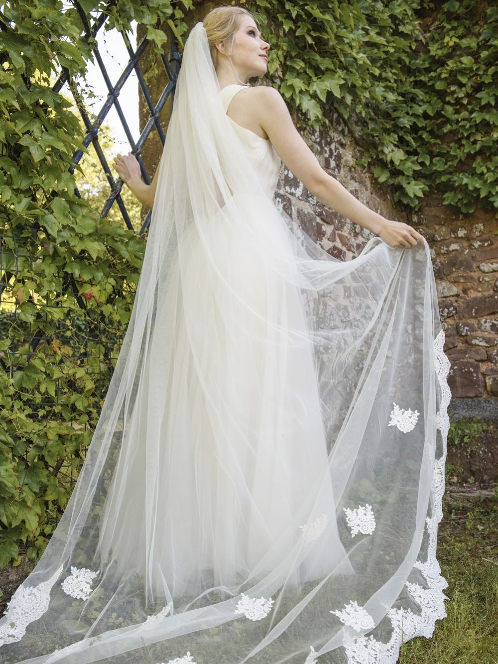 Joyce Jackson Lunaria Lace Edge Chapel Length Veil with Lace Motifs
