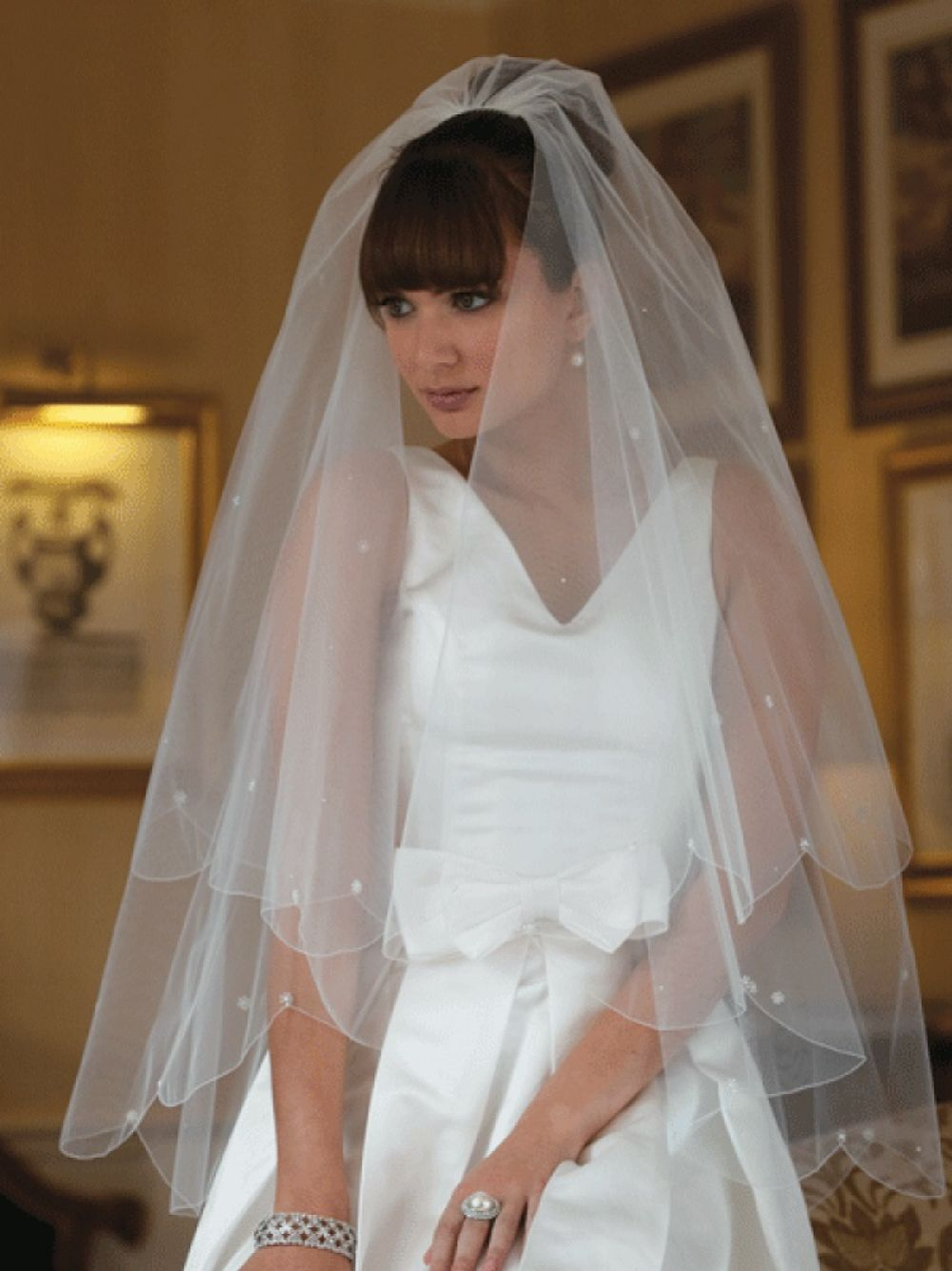 Joyce Jackson Marrakesh Scalloped Edge Veil with Pearl and Crystal