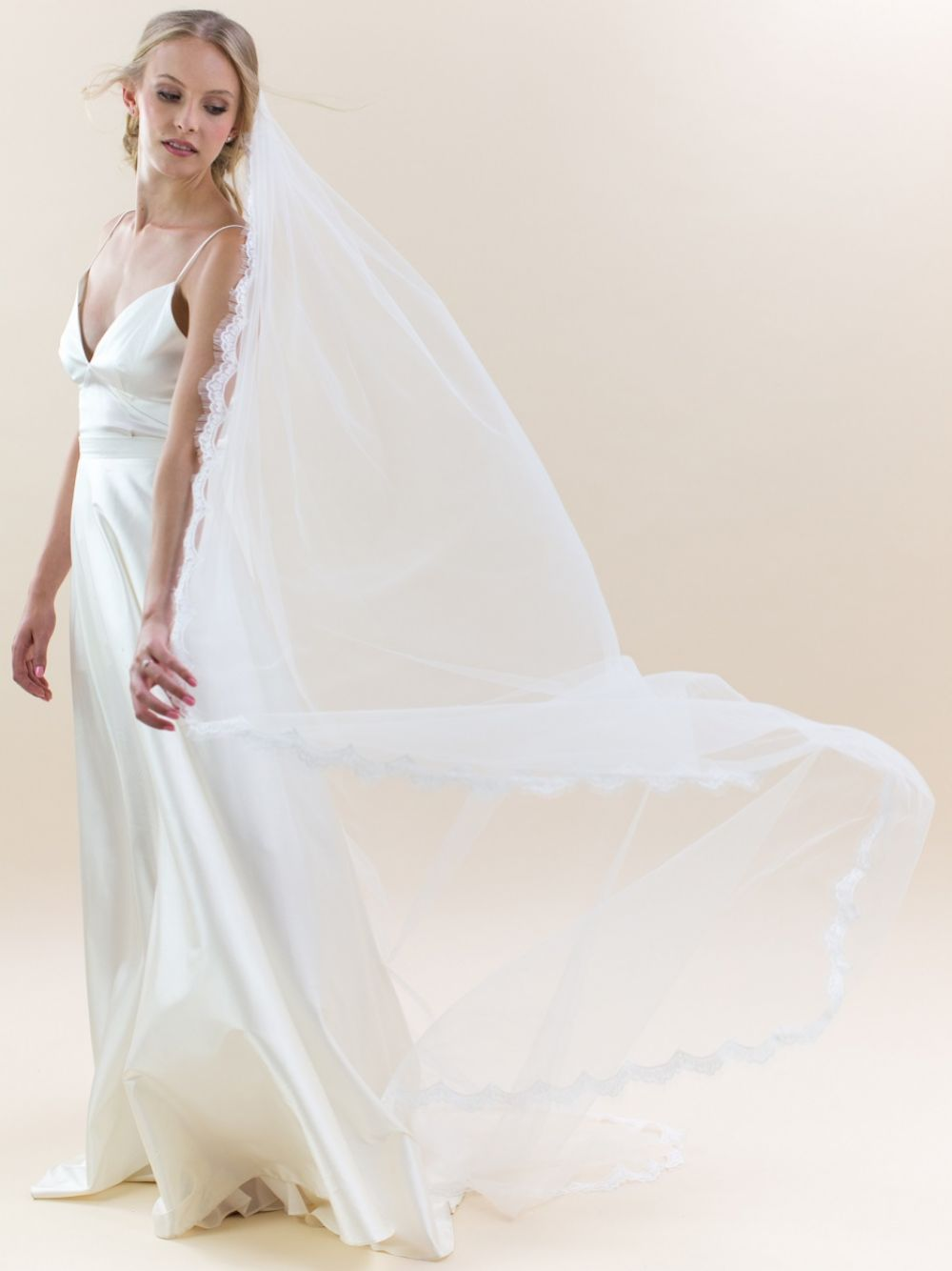 Rainbow Club Ivy Delicate Lace Edge Chapel Length Veil