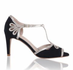 Perfect Bridal Esme Black Suede and Gold Shimmer T-Bar Shoes