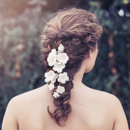Adele Ivory Flowers Bridal Hair Vine