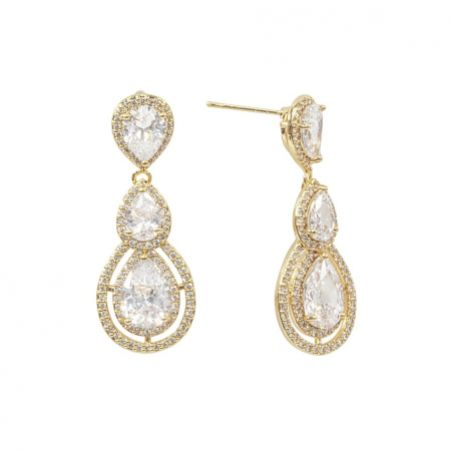 Alessandra Gold Vintage Inspired Crystal Chandelier Earrings