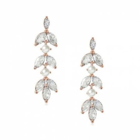 Amalia Rose Gold Cubic Zirconia and Pearl Drop Earrings
