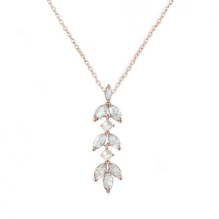 Amalia Rose Gold Cubic Zirconia and Pearl Pendant Necklace