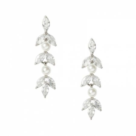 Amalia Silver Cubic Zirconia and Pearl Drop Earrings