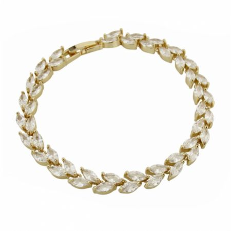 Amara Gold Crystal Vine of Leaves Bracelet