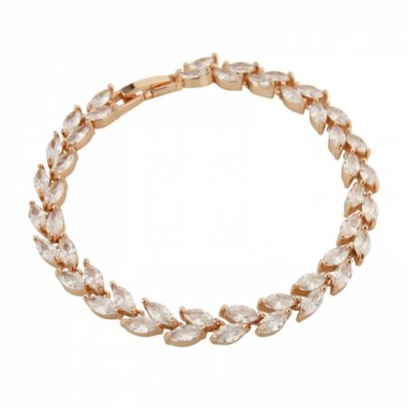 Amara Rose Gold Crystal Vine of Leaves Bracelet