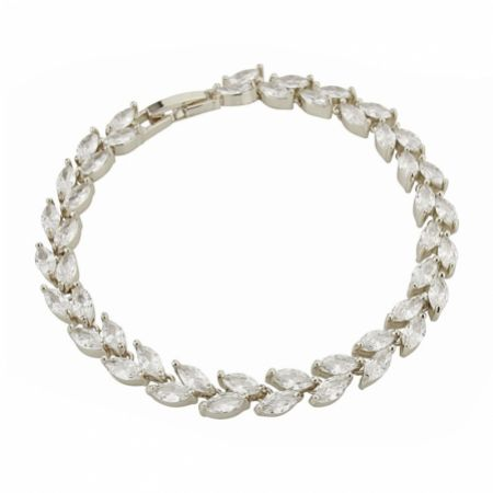 Amara Silver Crystal Vine of Leaves Bracelet