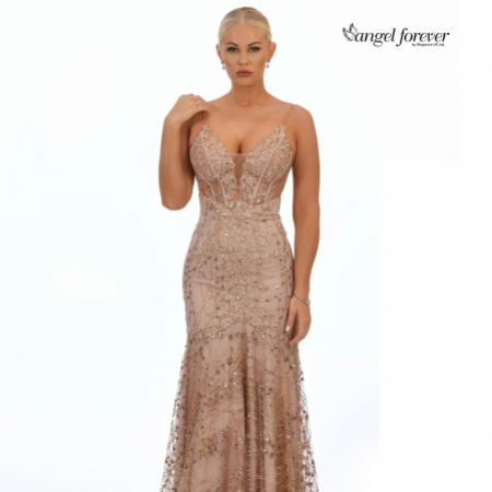 Angel Forever Glitter Lace Fitted Corset Prom Dress (Rose Gold)