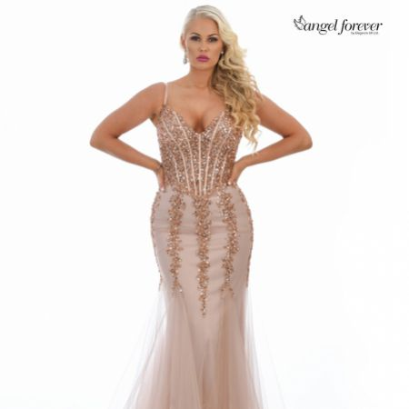 Angel Forever Sequin Embellished Corset Mermaid Prom Dress (Rose Gold)