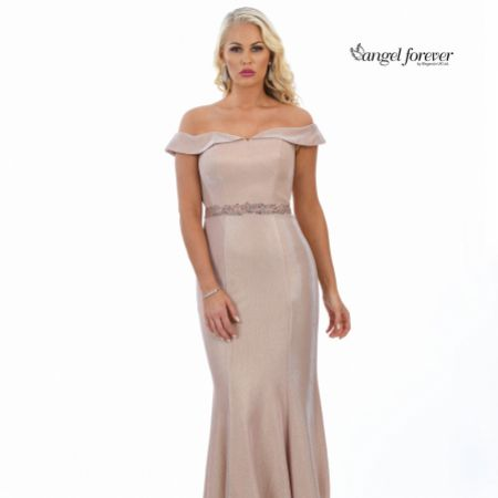 Angel Forever Shimmer Fabric Off The Shoulder Prom Dress (Rose Gold)