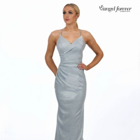 Angel Forever Shimmer Fabric V Neck Fitted Backless Prom Dress (Pale Blue)