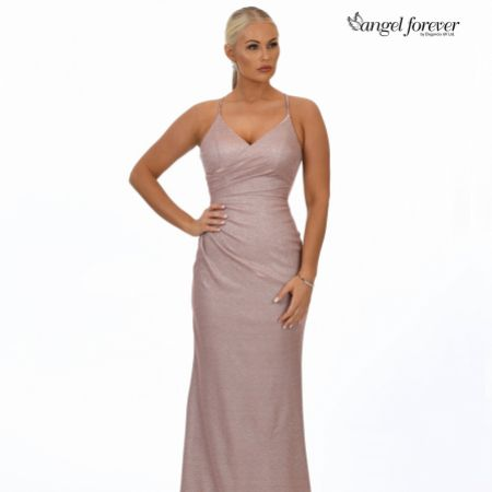 Angel Forever Shimmer Fabric V Neck Fitted Backless Prom Dress (Rose Gold)