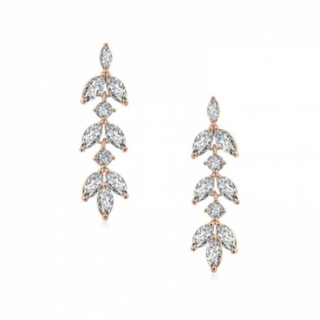 Aria Rose Gold Cubic Zirconia Drop Earrings