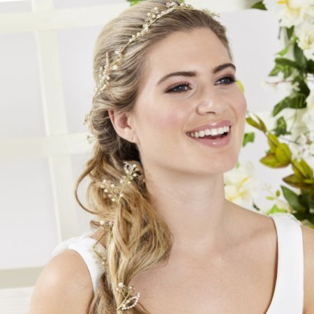 Arianna 1 Metre Pearl and Crystal Entwined Wedding Hair Vine AR543