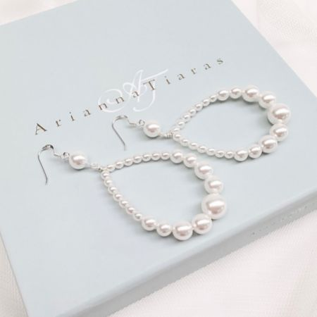 Arianna Amara Teardrop Pearl Hoop Earrings ARE624
