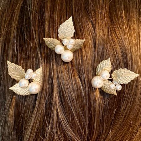 Arianna Aurelia Set of 3 Pearl and Leaves Hair Pins ARP635