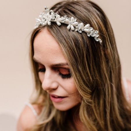 Arianna Bright Star Pearl and Crystal Wedding Tiara AR596