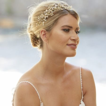 Arianna Celeste Pearl and Crystal Branches Headband AR565