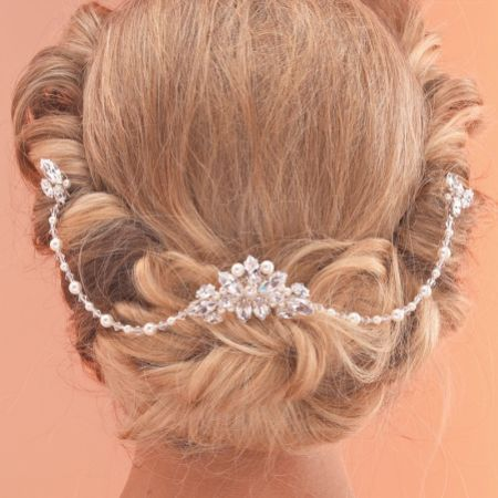 Arianna Elegant Pearl and Crystal Bridal Hair Comb with Drapes AR520