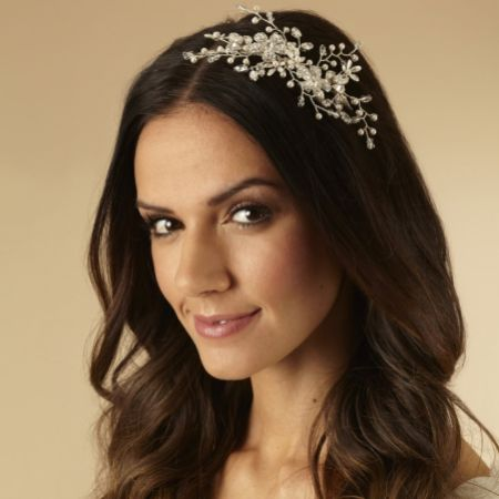 Arianna Floral Pearl and Crystal Spray Wedding Headband AR532