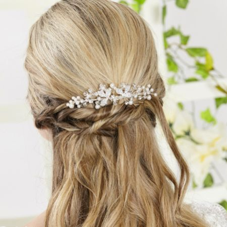 Arianna Hedgerow Pearl and Crystal Bridal Veil Comb AR552