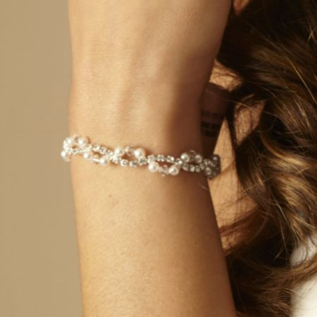 Arianna Pearl and Diamante Wedding Bracelet ARW093